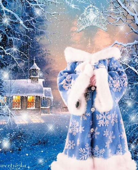 New-year child's template - Snow Maiden and fairy-tale house in-field