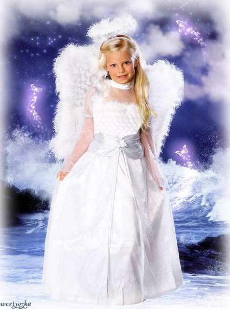 Child's psd template download - Charming girl-angel