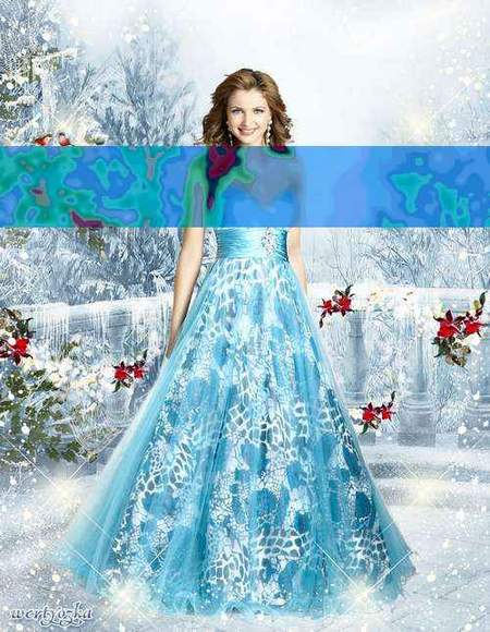 Woman psd template download - Girl in a chic blue dress