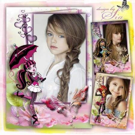 Free Photo frame for childrens photos download - Monster High School (3 psd + 3 png)