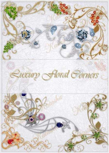 Luxury Floral Corners psd download - free decorative elements psd (transparent background)