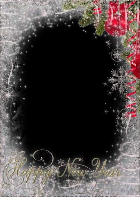 Frame template for photo - new year (free frame psd)