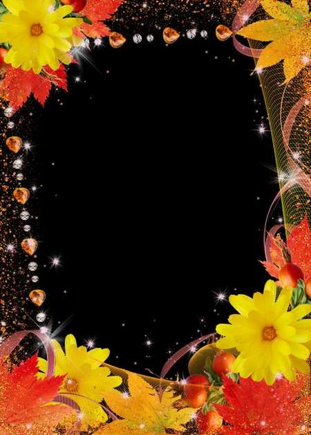 Flower frame for photo - Golden Autumn beauty (free 3 psd frame)