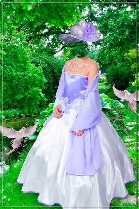 Lady in dress template for Photoshop - Girl on a walk