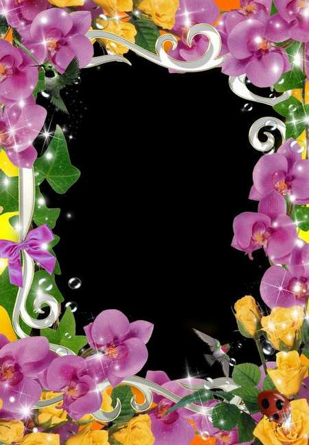 Flower frame for Photoshop - Bright feeling (free frame psd + free frame png)