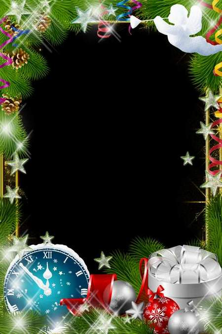 Christmas Frame for Photoshop - Holiday angel (free frame psd + free frame png)