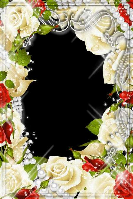 Flower frame for Photoshop - Roses white and red (free frame psd + free frame png)