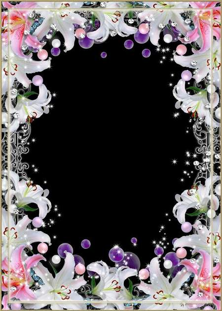 Flower frame for Photoshop - Delicate lily