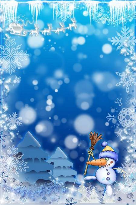 New Year Frame - Blue Fairy Tale (free frame psd)