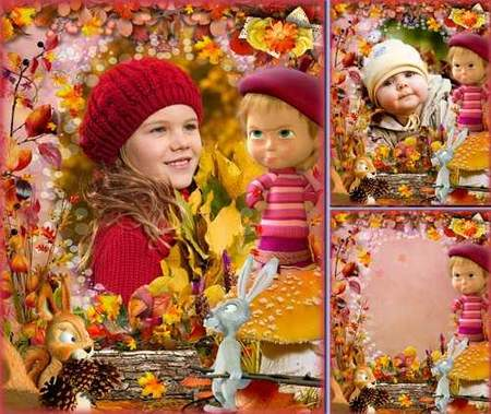 Free Photo frame psd download - Autumn day with cartoon character Masha