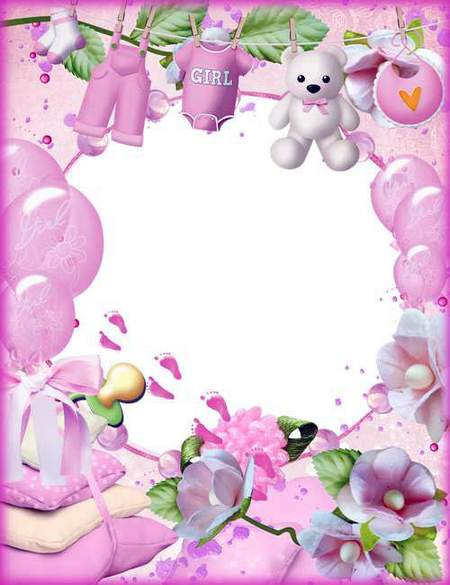 Baby girl photo frame template download (free frame psd + free frame png)