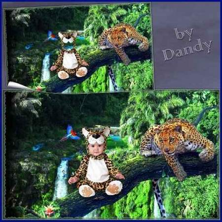 Photoshop costume psd for baby - Two leopards (free psd file download)