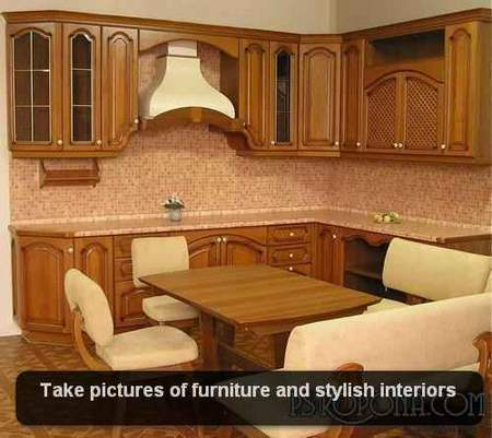 Take pictures of furniture and stylish interiors