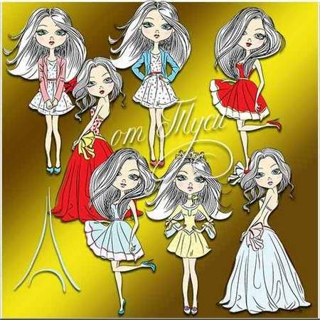 Dolls clipart download - free psd file (transparent background)