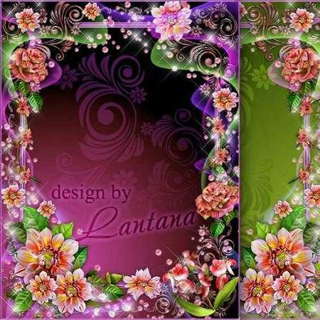 Flower photo frames psd download - free 2 frames psd delicate flowers