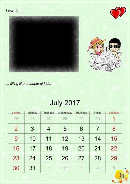 Loose-leaf calendar 2017 and 2018 download - Love is (free calendar psd)