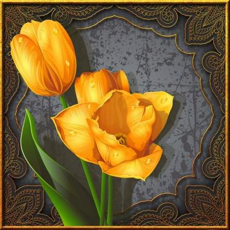 Free Vintage tulips psd source