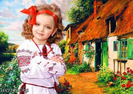 Children's psd template - the Girl near a small house in village