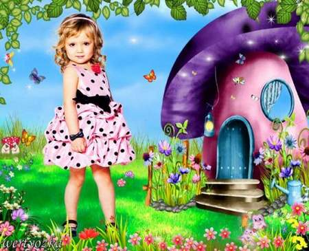 Child's template is Girl on the fairy-tale glade