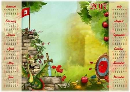 2017 Photoshop Calendar psd