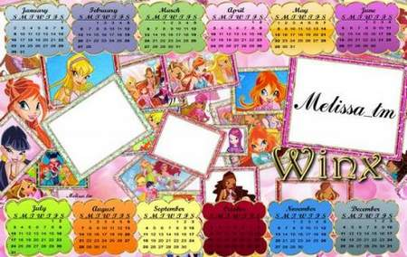 Calendar for Children Winx 2011