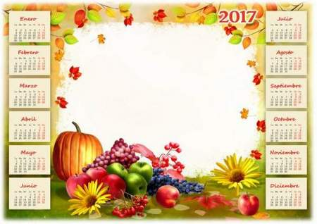 Free Calendar 2017 psd for photoshop download - Autumn
