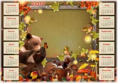 Free Autumn Calendar 2017 for Photoshop download