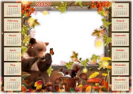Free Autumn Calendar 2017 for Photoshop download