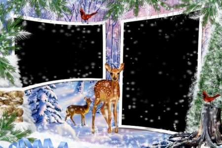 Frame for two photos for Photoshop - Winter with a deer (free frame psd + free frame png)