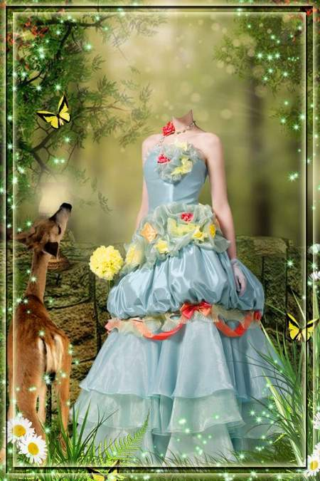Child girl in dress psd for Photoshop - Magic Forest (free psd file)