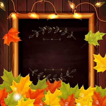 Free frame psd with Autumn maple leaves free download (layered PSD)