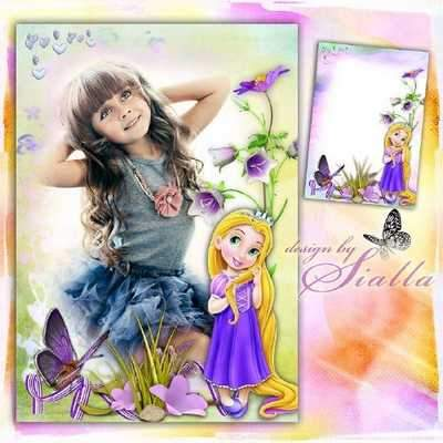 Photoshop frame for little girls download - Baby Rapunzel and I (free frame psd + free 2 frame png)