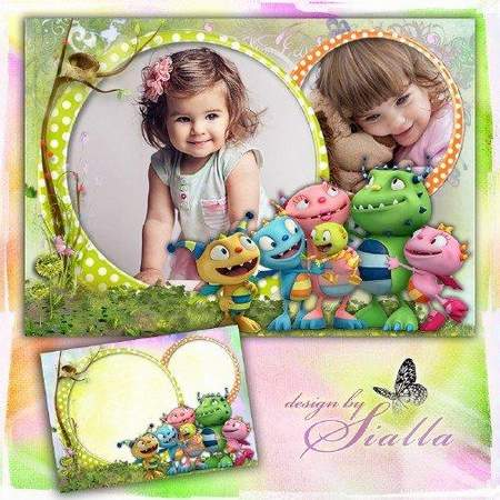 Children's photoshop frame with Henry Hugglemonster