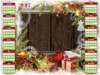 Free 2017 Calendar frame psd download - Winter family holiday