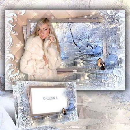 Winter frame collage psd - winter nature