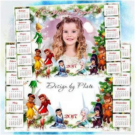 2017 New Year calendar psd - Fairies