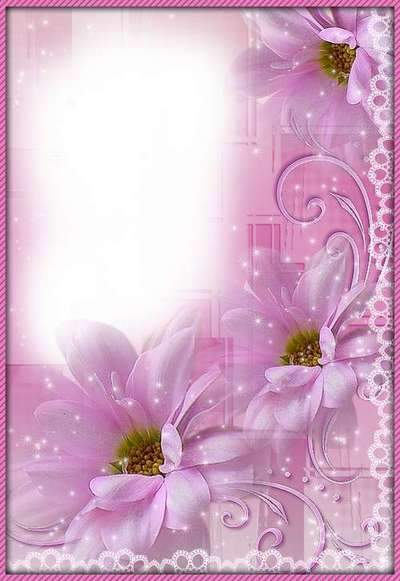 Pink tenderness - flower frame (frame psd + frame png)