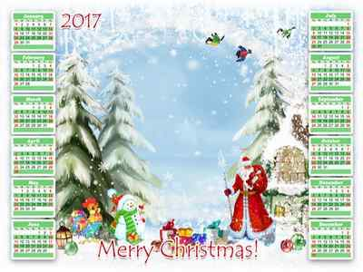 Christmas Calendar frame psd 2017  - Santa with gifts (English, Spanish, Russian)