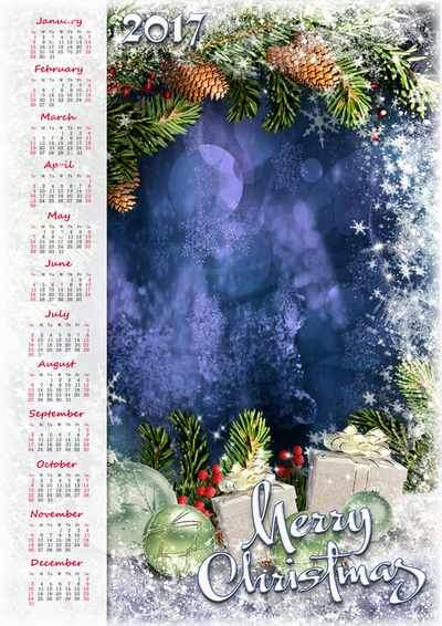 Free 2017 Calendar frame psd for Photoshop - Merry Christmas