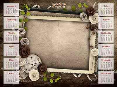 2017 Vintage Calendar frame psd - Old  photo ( free Calendar psd )