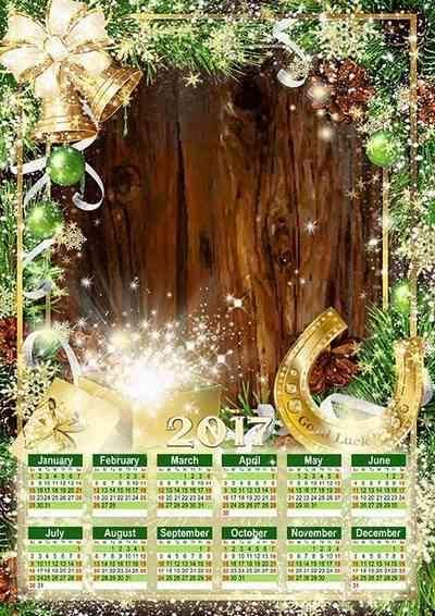 Free 2017 Christmas Calendar frame psd