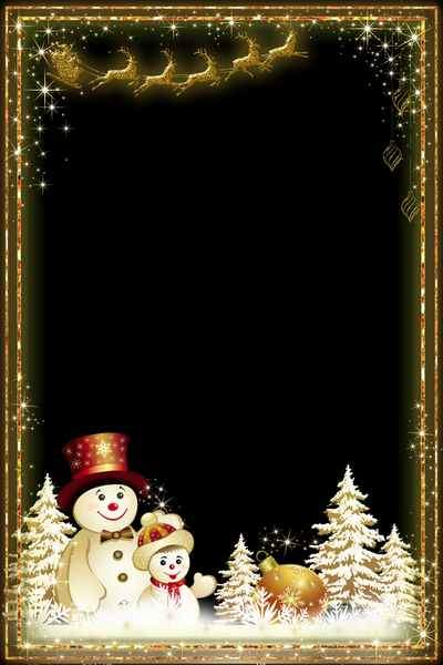 Christmas frame for photo - Golden Magic (free frame psd + free frame png)