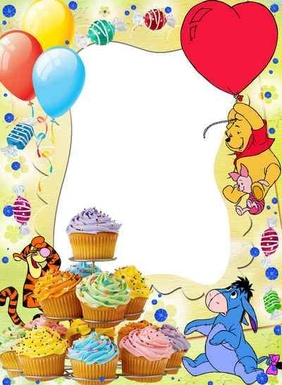 Child`s frame - Sweet cakes for Winnie and friends (  free frame psd, free download )