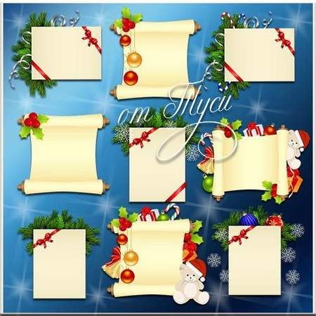 Christmas scrolls and postcards clipart psd