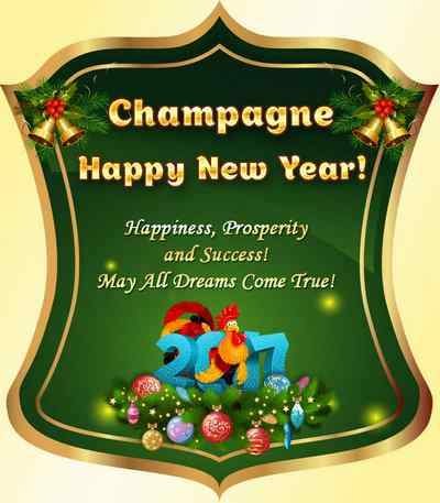2017 Label on a bottle of New Year champagne - Happy New Year ( free 3 psd file, free download )