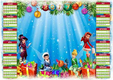 Calendar 2017 with framework for Photoshop - New Year holiday with the Disney Fairies