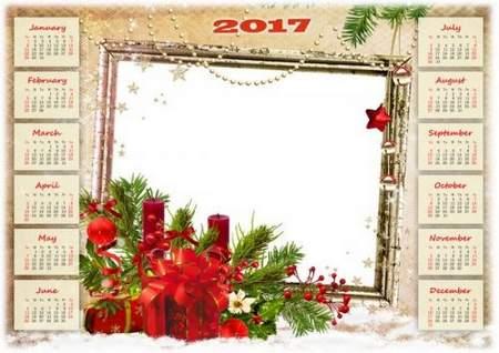 free 2017 Calendar-frame psd winter holidays free download