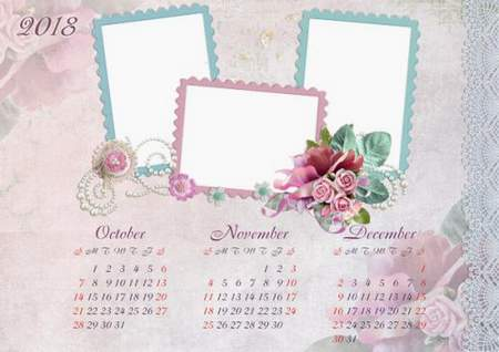 2018, 2017 Loose-leaf Calendar psd