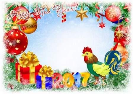 Greeting New Year photoframe psd