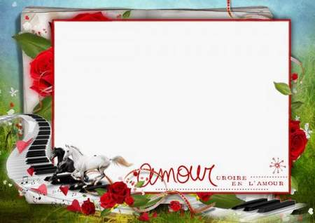 Love photo frame psd / png